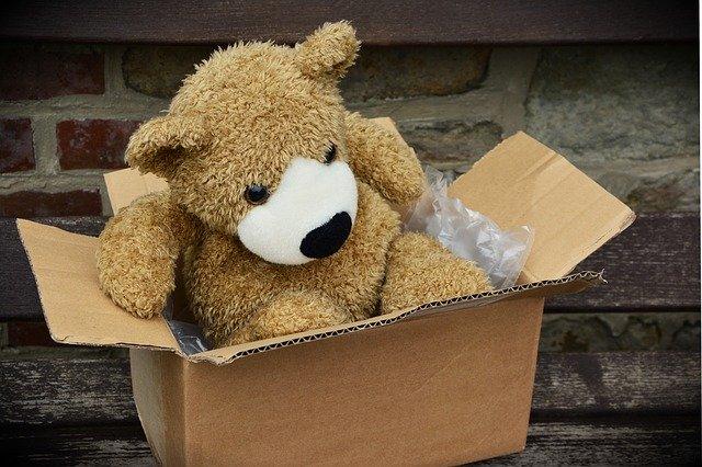 plyšový medvěd v krabici