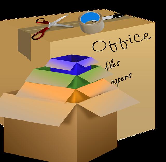 stěhovací krabice, balení